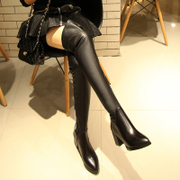 Coarse in England with over the knee boots with elastic boots leather pointed boots casual boots skinny long boots