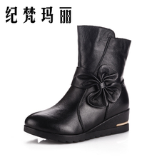 In the autumn of 015 the new big yards mom middle-aged women short boots boots leather bowknot short boots mother comfortable leisure shoes
