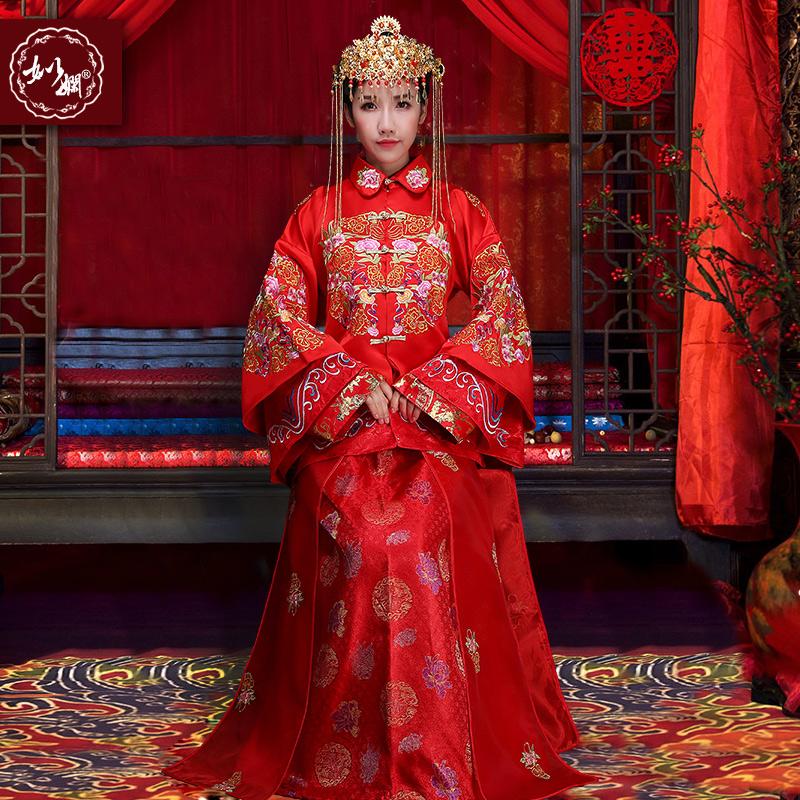 秀禾服新娘禮服中式結婚禮服2016 敬酒嫁衣複古旗袍秀和服