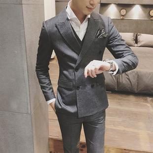 男士 竖条纹西装 三件套修身 西服套装 新郎结婚礼服春英伦韩版 主持人
