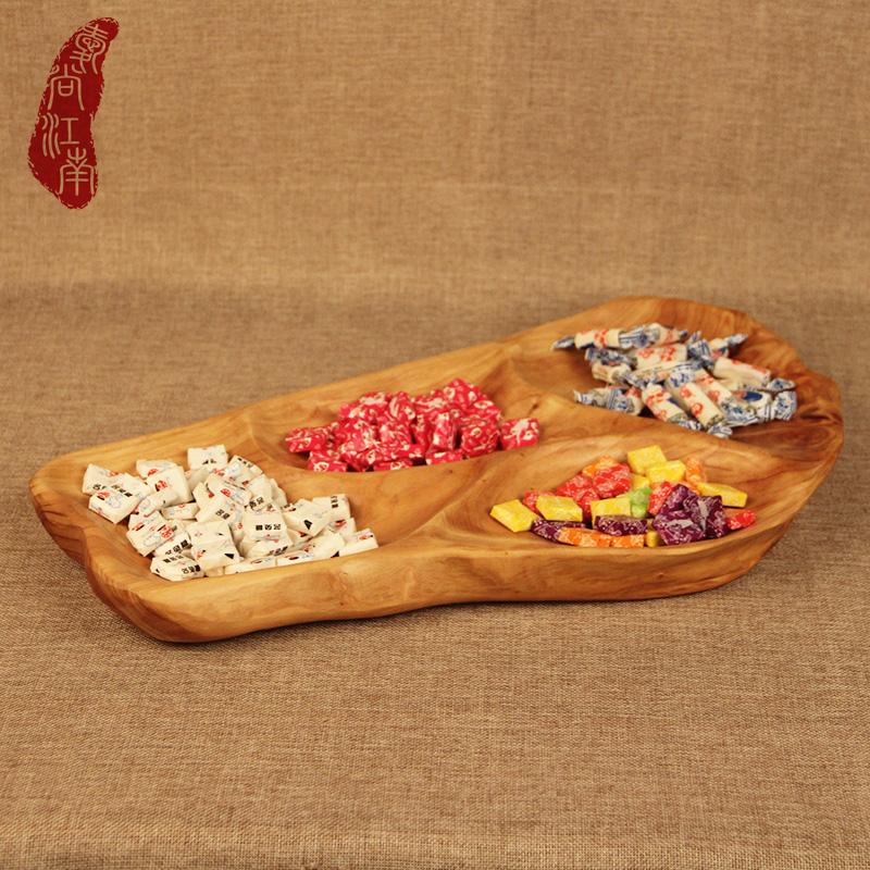 根雕实木分格水果糖果盘多格餐盘 木制餐具干果小托盘茶盘杉木