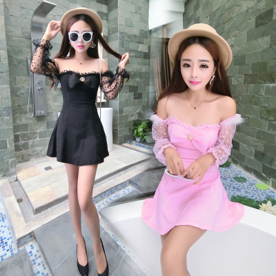 Fall 2015 new European and American wind sexy socialite word brought off-the-shoulder hearts net yarn splicing bowknot dress