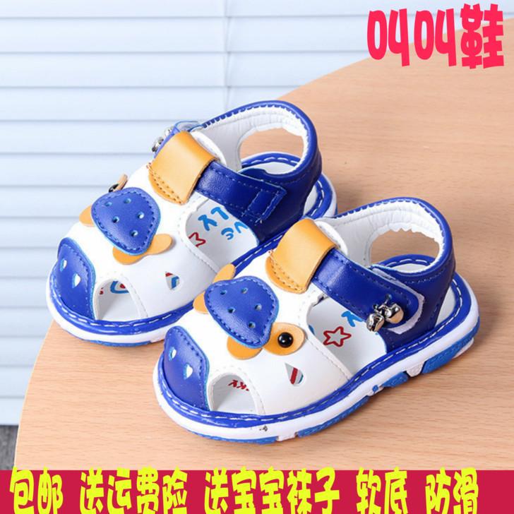 2019夏季儿童凉鞋叫叫鞋女童婴儿学步鞋软底男宝宝鞋防滑0-1-2岁