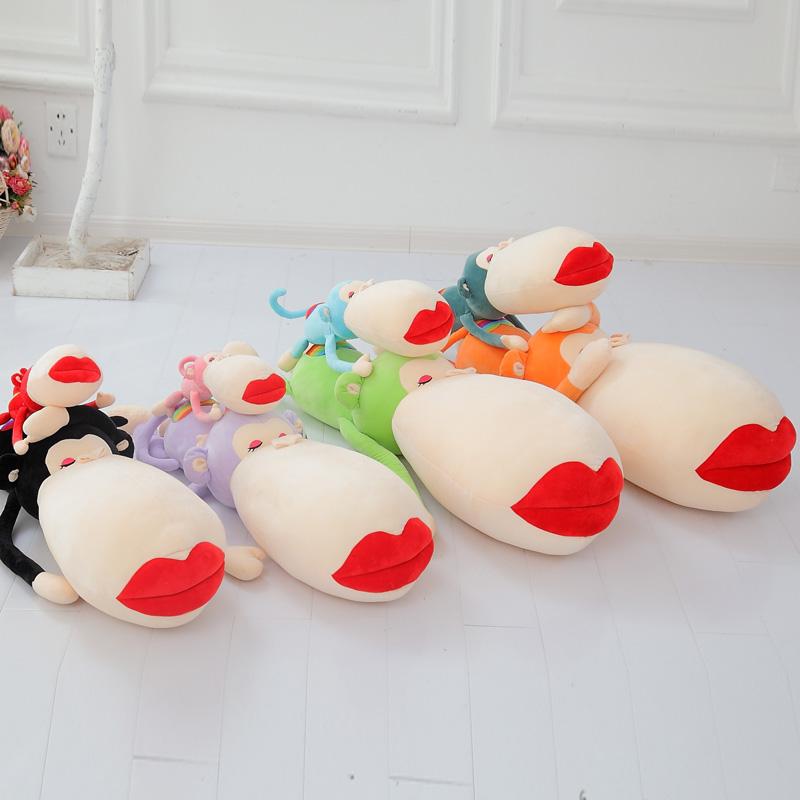 猴子公仔毛�q玩具大嘴�t唇彩虹猴女生大�抱枕靠� 布娃娃生日�Y物