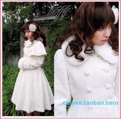 Winter sweet Lolita detachable cape cape with waistband and large hem woolen cloth overcoat