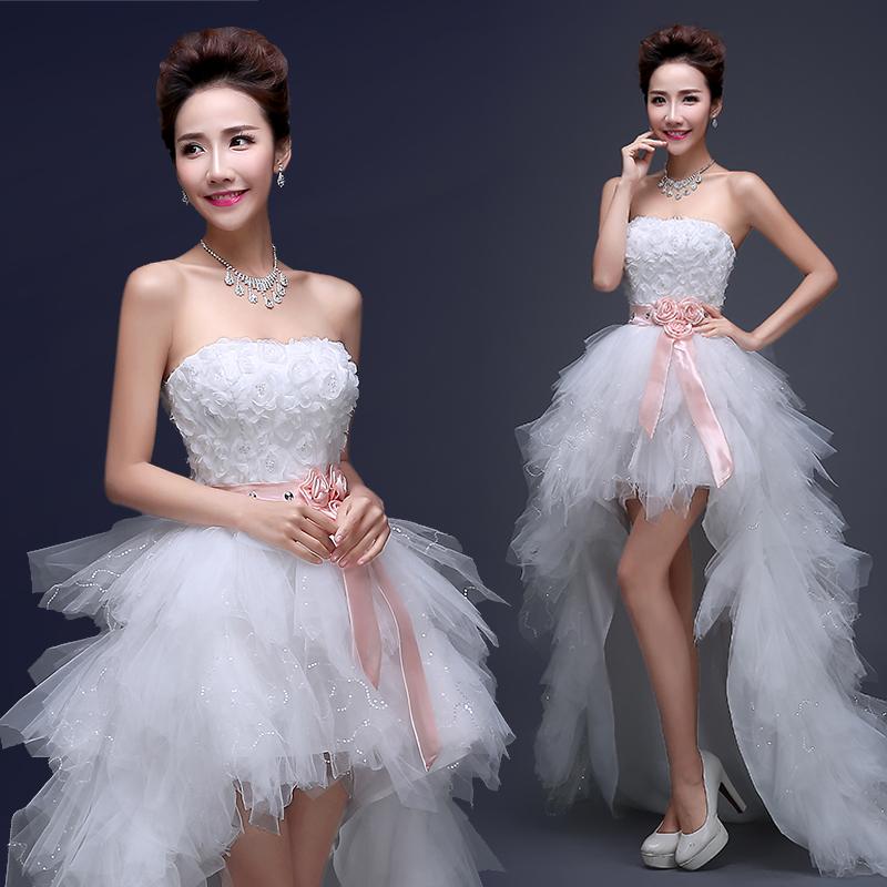 Новая Весна/Лето Свадебные платья 2016 до корейской версии пернатых алмаз stomacher принцесса свадебное платье после короткого Тонкие лямки