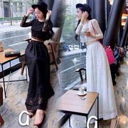 花匣子 2015春季 新款短款蕾絲上衣+大裙擺半身長裙兩件套套裝