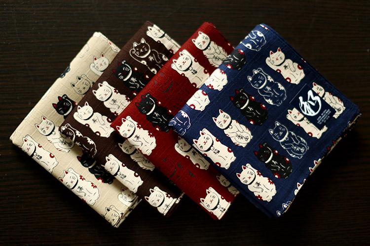 日本制 和风大手帕手绢 纯棉 女士用 加厚 DIY手工布料 方巾 猫咪