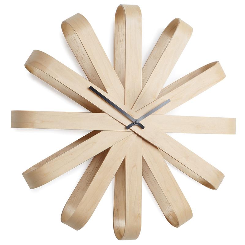 加拿大umbra木质丝带挂钟 欧式北欧风格创意家居装饰墙面静音时钟
