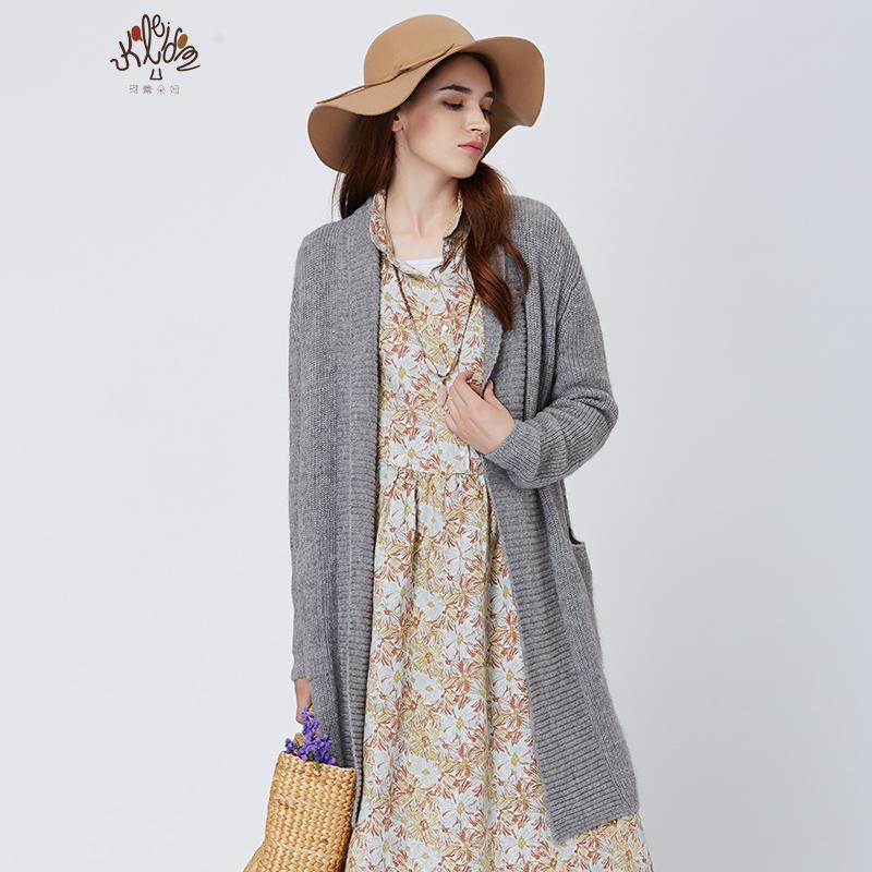 珂蕾朵姆2016冬装新款宽松显瘦毛衣中长款针织开衫女装K2154N12