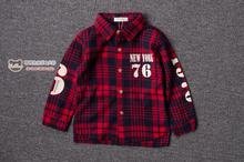 Duolala boys shirt in the autumn of 2015 to the new south Korean baby cotton plaid printed letters long sleeve shirt