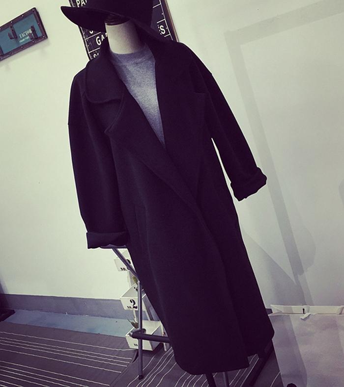 Зима Корея свободный черный сплошной цвет код одной кнопки тонкий длинный костюм пальто шерсти пальто женщин