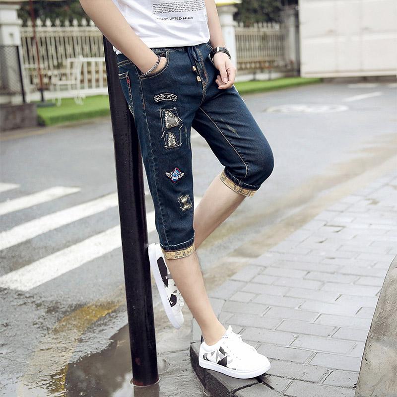 青少年鬆緊腰彈力牛仔褲