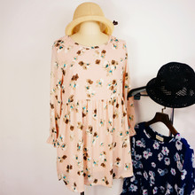 South Korea to restore ancient ways small and pure and fresh flower flower round collar lace long sleeve double-layer chiffon loose render joker dress