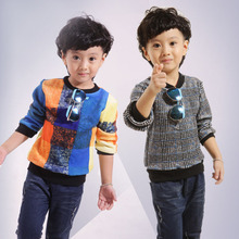Children's clothing boy set of new fund of 2015 autumn winters is thin section and pile head fleece children long-sleeved casual round collar render unlined upper garment