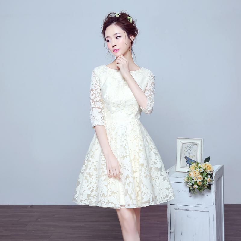新娘敬酒服中袖2016 夏短款結婚禮服伴娘禮服修身顯瘦連衣裙女