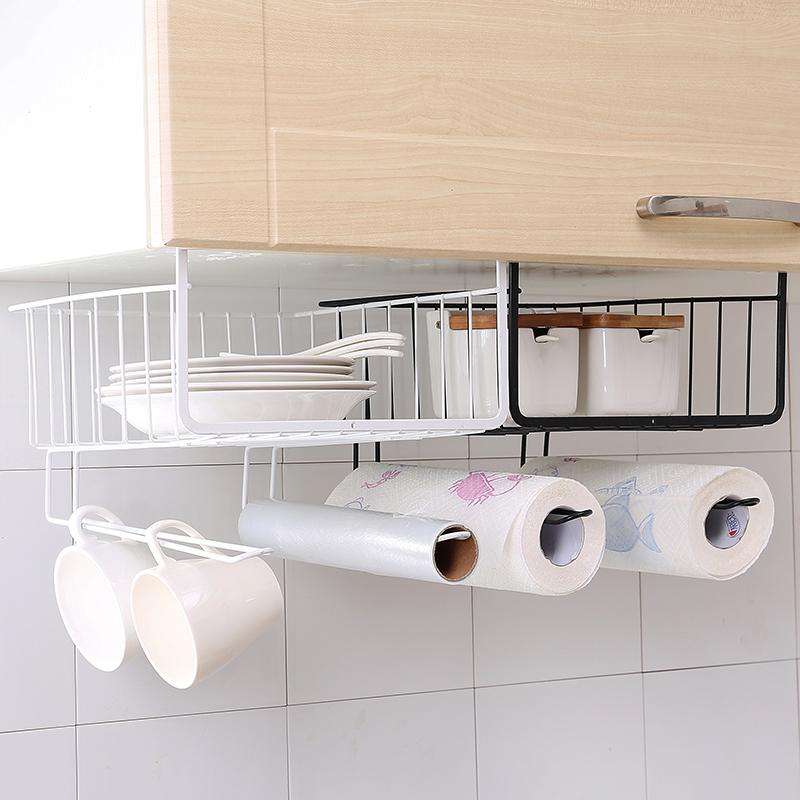 厨房橱柜下挂篮置物架宿舍床头收纳神器衣柜隔层整理柜子分层架子
