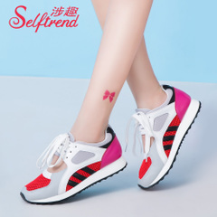 Interesting new Korean version 2015 summer involved collision with breathable mesh surface with Forrest Gump running women shoes T52628