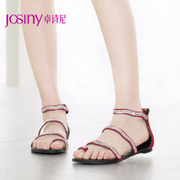Zhuo Shini summer designer shoes to Europe in 2015 Scrubs rhinestone zipper toe flat Sandals 152130070