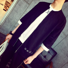 The new summer 2015 male GD harajuku port with the paragraph 7 minutes of sleeve zipper long personality T-shirt TEE tide male