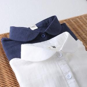 日系彼得潘领 棉纱纯色亲肤长袖衬衣 全棉显瘦百搭文艺女打底衬衫