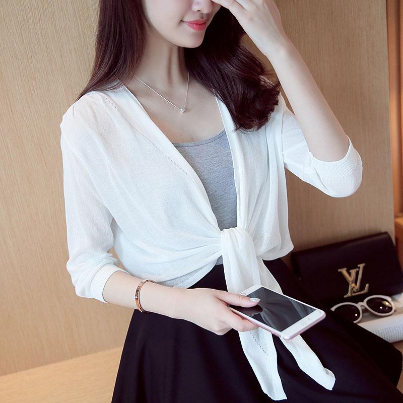Краткое модель иностранных взять тонкая модель свитер женщина кардиган солнцезащитный крем рубашка шаль кондиционер рубашка лето малыми пределами крышка шелк льда жилет