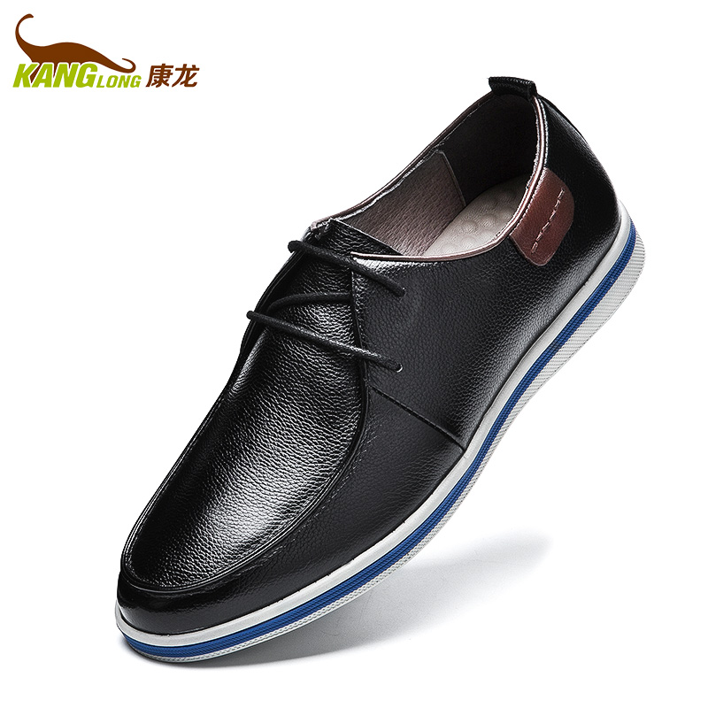 康龙休闲皮鞋 真皮圆头系带休闲鞋 软面舒适透气流行男鞋子低帮鞋