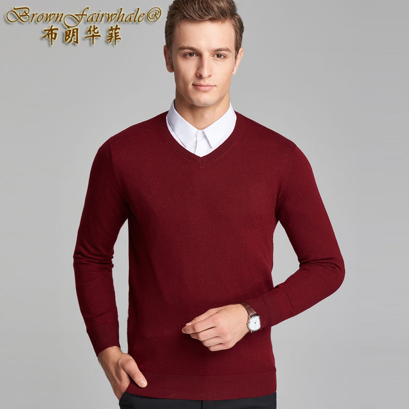 Autumn and winter mens cardigan sweater knitted bottomcoat V-neck Pullover solid color fashion gentle warm men