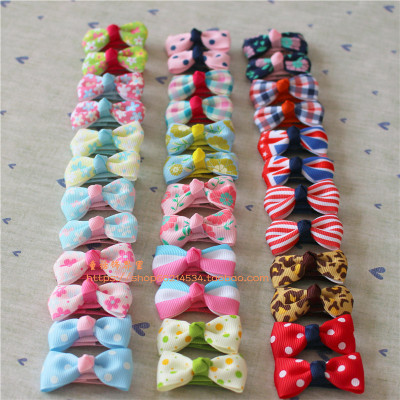 A pair of children baby girl hair bowknot hairpin Super of mini BB clip baby cloth clip