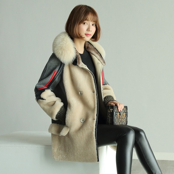 Princess Katie fur 2016 winter new Korean wool sheep shearing fur coat female woolen coat fashion