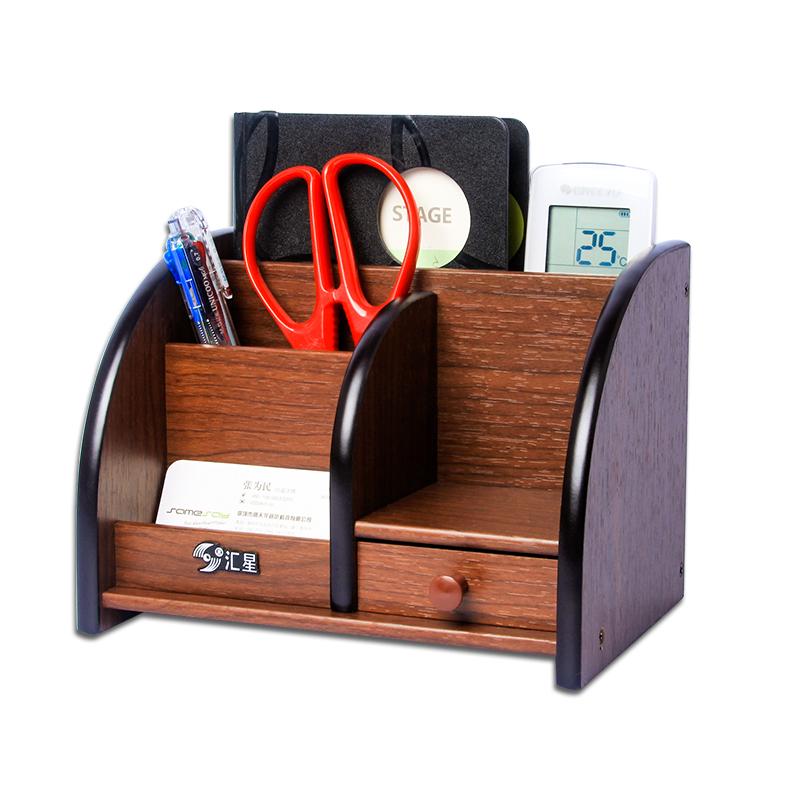 桌面笔筒创意时尚 简约木质收纳盒抽屉小名片盒 商务办公室名片架