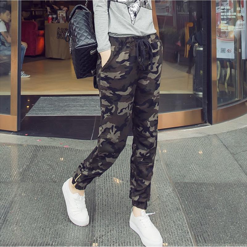 Камуфляж брюки женщин осень/зима гриб женщин улице девять корейских студентов связанных гарем брюки тонкие брюки