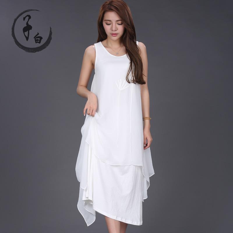 2016夏裝 女裝不規則長款繡花連衣裙S15281233嚕嚕 比比聖迪奧