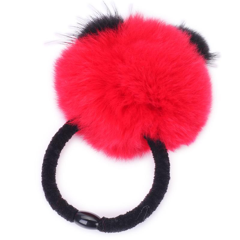 �阻�可爱新款韩版熊猫头型毛绒毛球型发圈发绳 两种款式可选 包邮