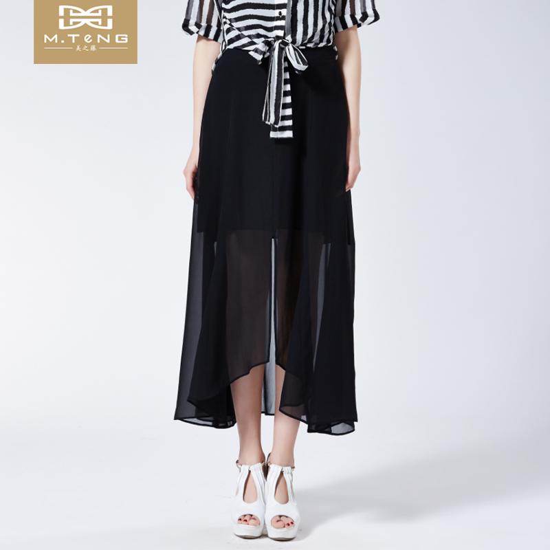 美之藤 2017女装时尚OL风格不规则开叉桑蚕丝半身裙MF2D02