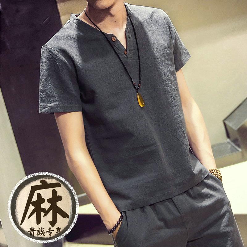 v領棉麻男士亞麻純色t恤
