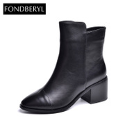Fondberyl/feibolier 2015 winter new style leather head thick high heel ankle boots shoes FB54113127