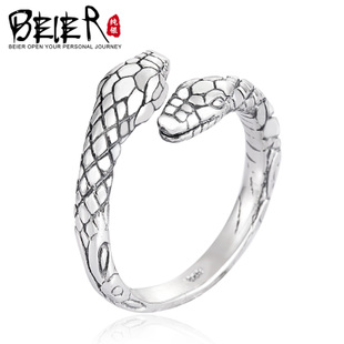 Opening 925 Silver Ring Ring single-tail ring men pinkie Ms. serpentine retro index finger ring jewelry influx of people