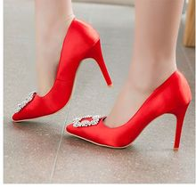 Europe and the United States single of new fund of 2015 autumn shoes with 10 cm red high-heeled shoes heel pointed silk light mouth diamond single women's shoes