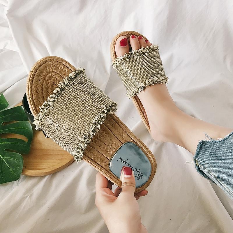 2018夏水鑽滿鑽流蘇柔軟一字型露趾涼鞋托懶人室外拖鞋平底鞋女鞋