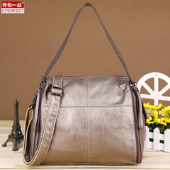 Show a leather zipper handbags fall/winter fashion handbags 2015 in Europe and America the new shoulder Messenger bag