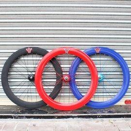 70MM大刀圈死飞车轮胎轮毂 700C前轮倒刹倒骑后轮组 自行车圈外胎图片