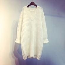 冬季新款韩版v领白色毛衣连衣裙中长款宽松套头针织衫外套女秋冬