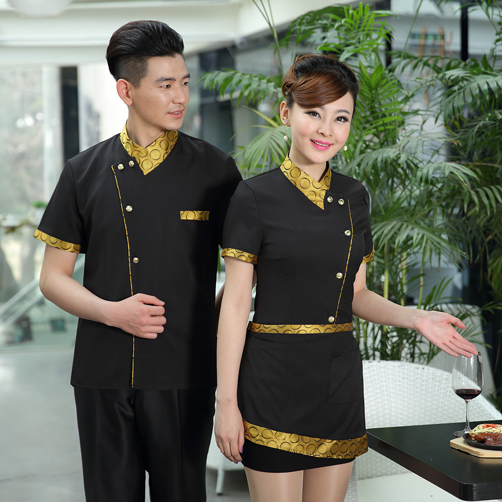 High end hotel waiters work clothes short sleeve mens and womens catering Chinese restaurant hot pot shop work uniform summer wear