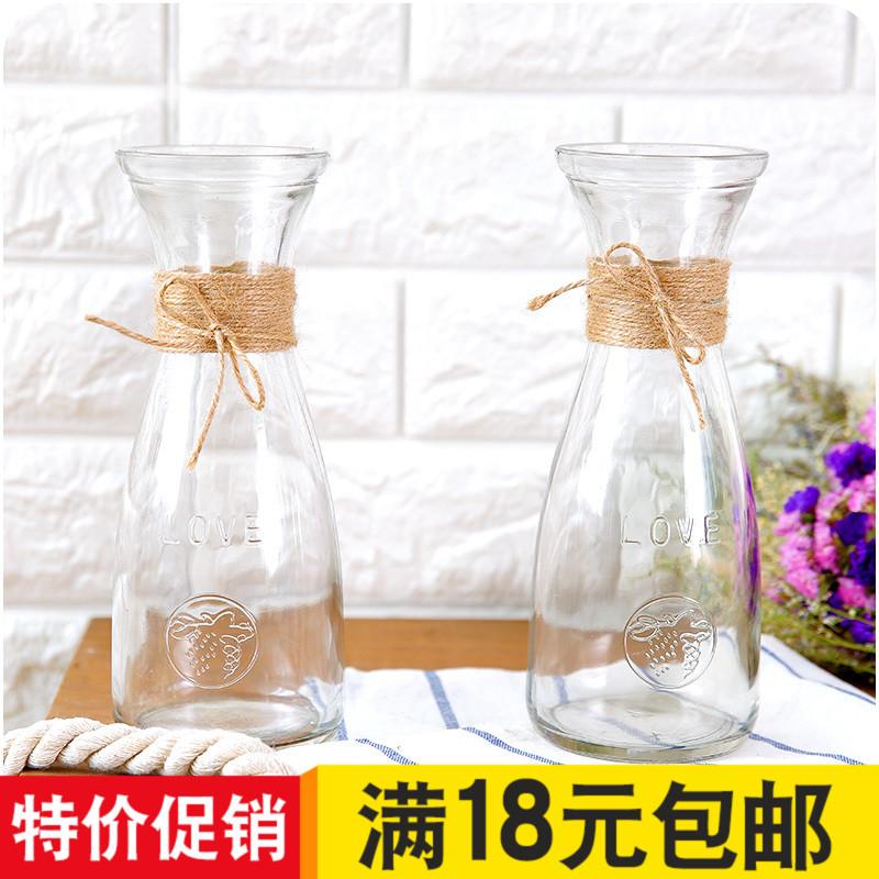 Ваза стекло прозрачный большой количество гостиная украшение рабочий стол цветочная композиция бутылка литература и искусство простой творческий континентальный сухие цветы ваза