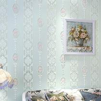 粉色竖条纹壁纸客厅卧室婚房3D立体欧式田园无纺布墙纸电视背景墙