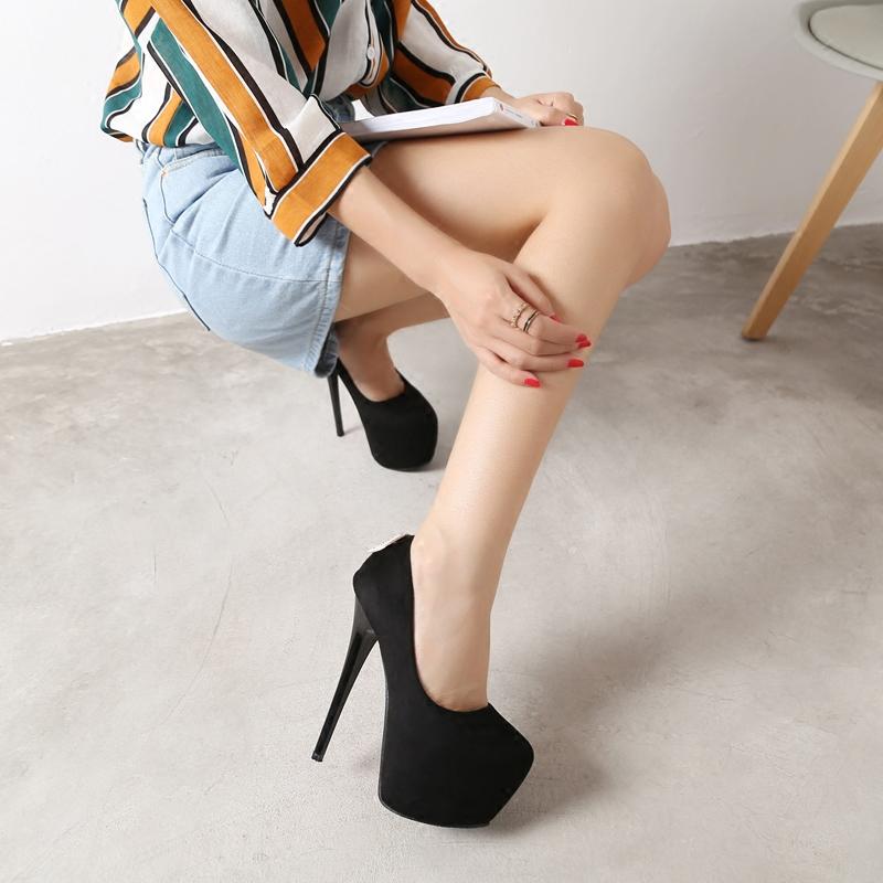 超高跟鞋16cm春秋简约舒适细跟防水台恨天高圆头绒面女高跟单鞋