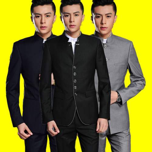 Autumn and winter Chinese mountain suit mens stand collar casual suit coat youth slim groom Chinese wedding dress Tang suit