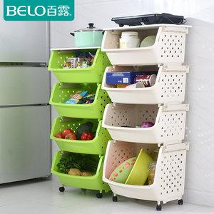 百露带木盖板厨房置物架储物架收纳架加厚款可置放锅碗蔬菜储物架