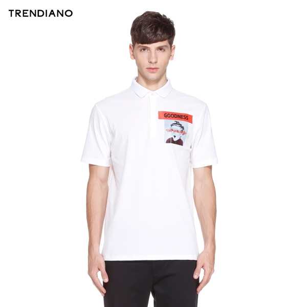 TRENDIANO new 2016 autumn casual men's short-sleeved POLO shirt printing letters lapel 3HC3021090
